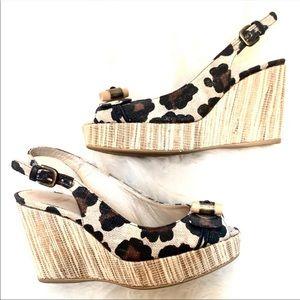 Stuart Weitzman Sling Leopard Wedge Peep toe shoes